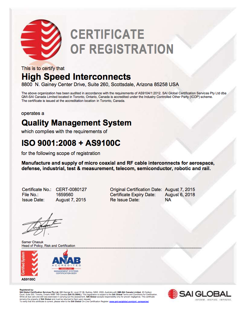 HSI ISO 9001 and AS9100C Certificate
